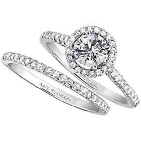 Single Diamond Halo Engagement Ring Wedding Band